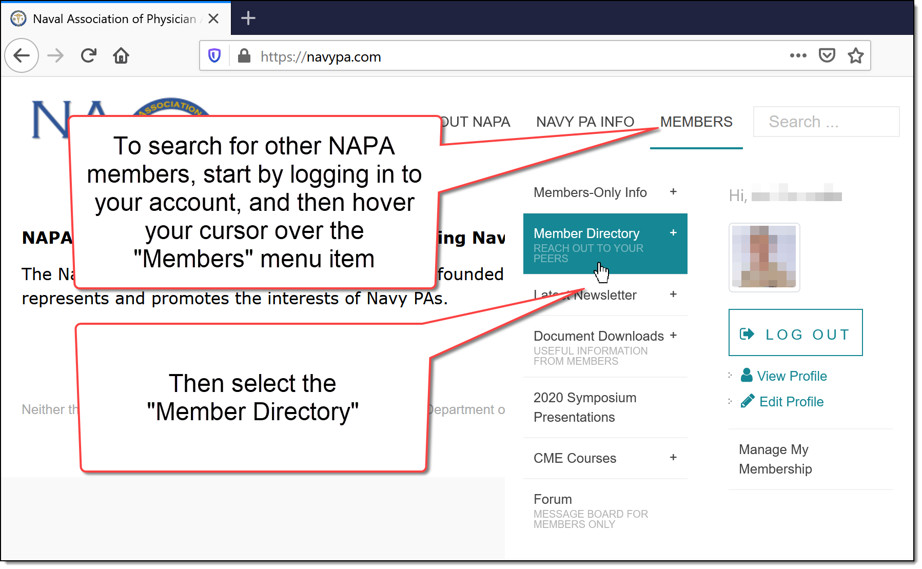How to search for other NAPA members