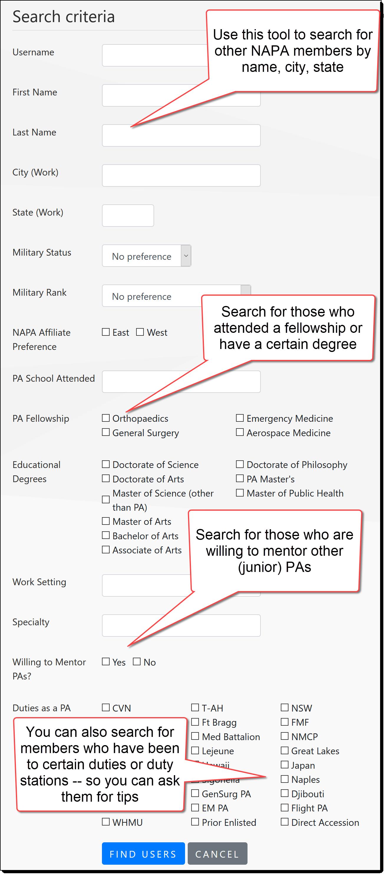 member search criteria