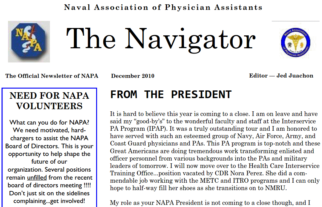 December issue of The Navigator posted