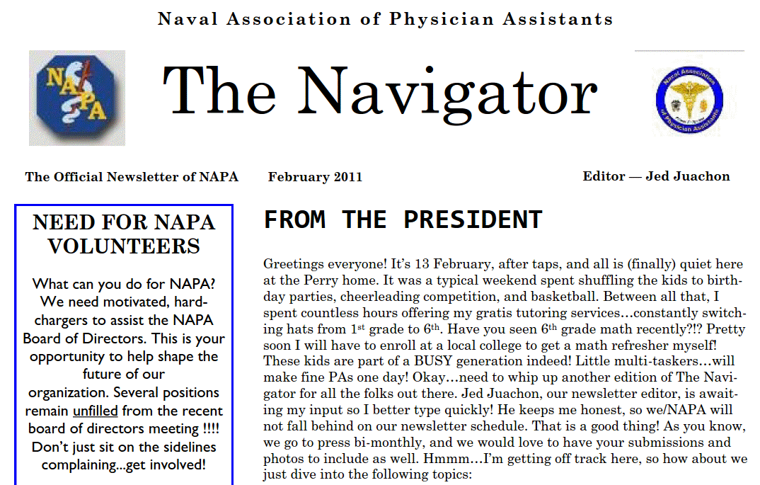 Feb Issue of the Navigator Posted